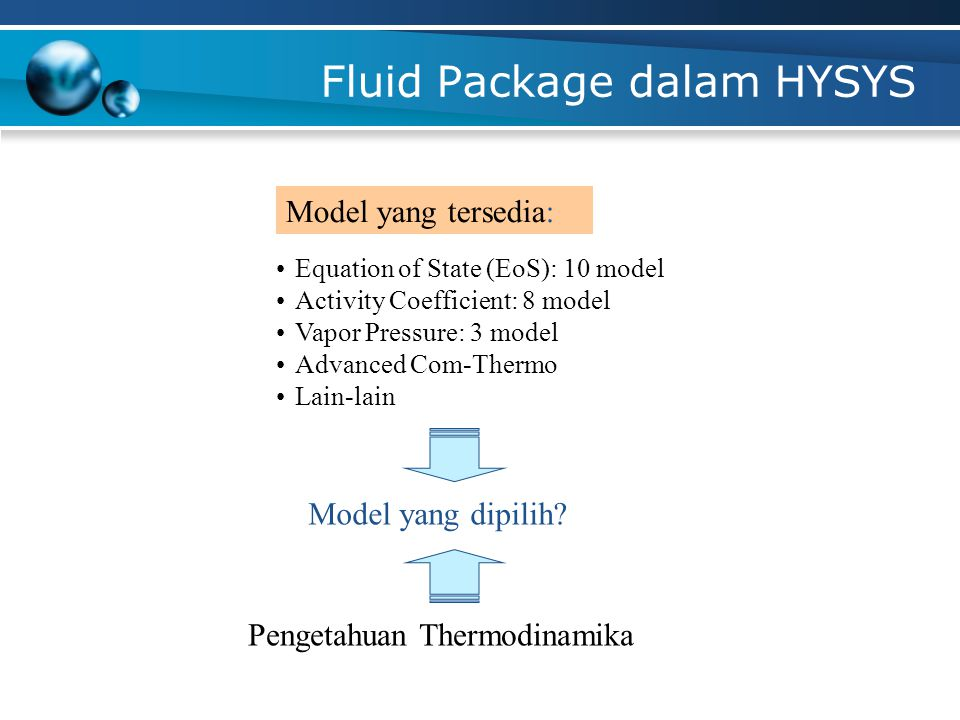 SELECTING FLUID PACKAGE  Fluid Package = CL + PP  Property package (PP) haeus sesuai dengan komponen yang dipilih.