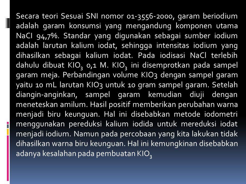 Secara teori Sesuai SNI nomor 01-3556-2000, garam beriodium adalah garam konsumsi yang mengandung komponen utama NaCI 94,7%. Standar yang digunakan se