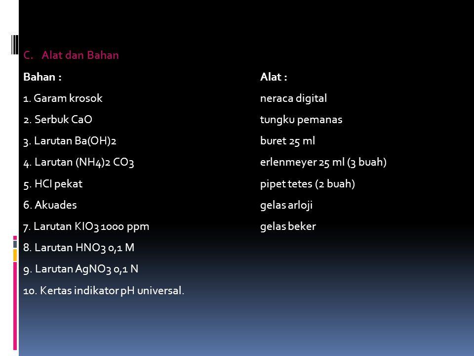 C.Alat dan Bahan Bahan :Alat : 1. Garam krosokneraca digital 2. Serbuk CaOtungku pemanas 3. Larutan Ba(OH)2buret 25 ml 4. Larutan (NH4)2 CO3erlenmeyer