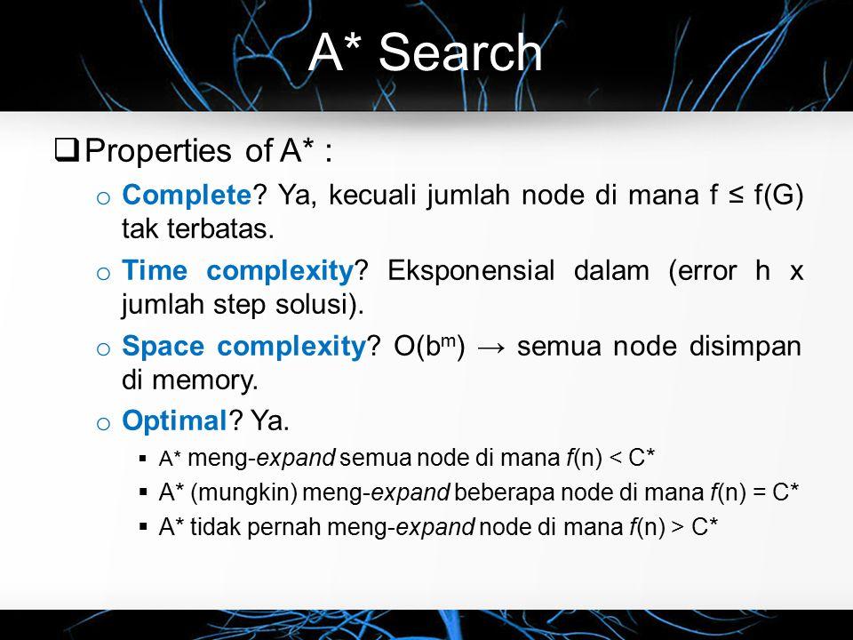 A* Search  Properties of A* : o Complete? Ya, kecuali jumlah node di mana f ≤ f(G) tak terbatas. o Time complexity? Eksponensial dalam (error h x jum