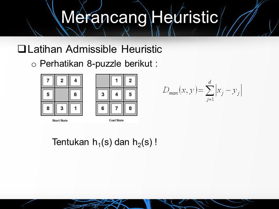 Merancang Heuristic  Latihan Admissible Heuristic o Perhatikan 8-puzzle berikut : Tentukan h 1 (s) dan h 2 (s) !