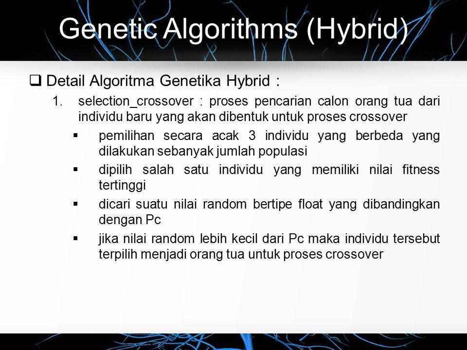 Genetic Algorithms (Hybrid)  Detail Algoritma Genetika Hybrid : 1.selection_crossover : proses pencarian calon orang tua dari individu baru yang akan