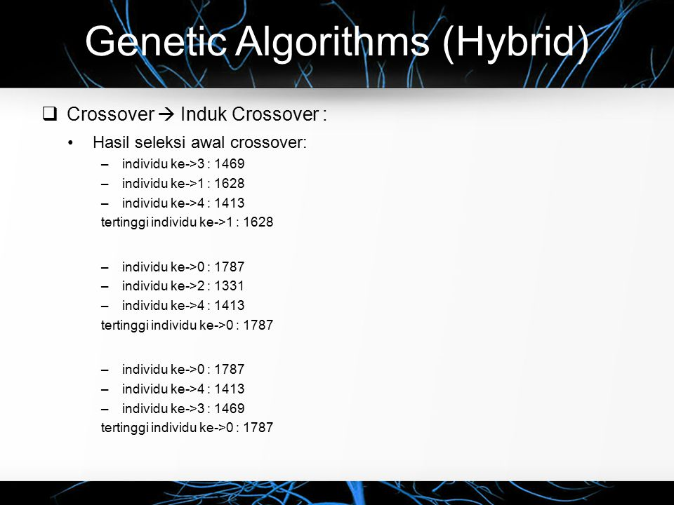 Genetic Algorithms (Hybrid)  Crossover  Induk Crossover : Hasil seleksi awal crossover: –individu ke->3 : 1469 –individu ke->1 : 1628 –individu ke->4 : 1413 tertinggi individu ke->1 : 1628 –individu ke->0 : 1787 –individu ke->2 : 1331 –individu ke->4 : 1413 tertinggi individu ke->0 : 1787 –individu ke->0 : 1787 –individu ke->4 : 1413 –individu ke->3 : 1469 tertinggi individu ke->0 : 1787