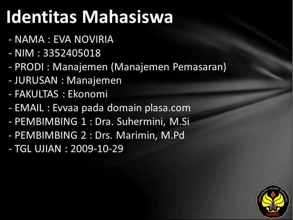 Identitas Mahasiswa - NAMA : EVA NOVIRIA - NIM : 3352405018 - PRODI : Manajemen (Manajemen Pemasaran) - JURUSAN : Manajemen - FAKULTAS : Ekonomi - EMA