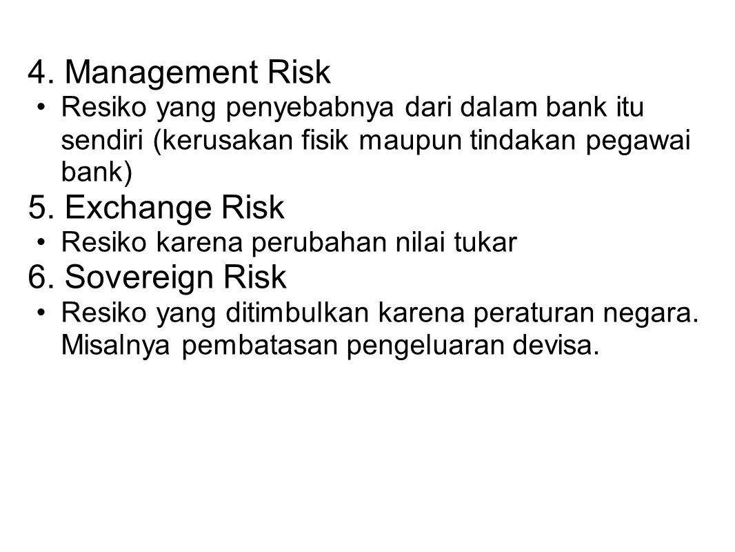 4. Management Risk Resiko yang penyebabnya dari dalam bank itu sendiri (kerusakan fisik maupun tindakan pegawai bank) 5. Exchange Risk Resiko karena p