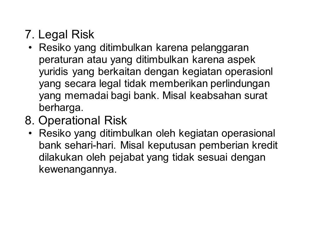 7. Legal Risk Resiko yang ditimbulkan karena pelanggaran peraturan atau yang ditimbulkan karena aspek yuridis yang berkaitan dengan kegiatan operasion