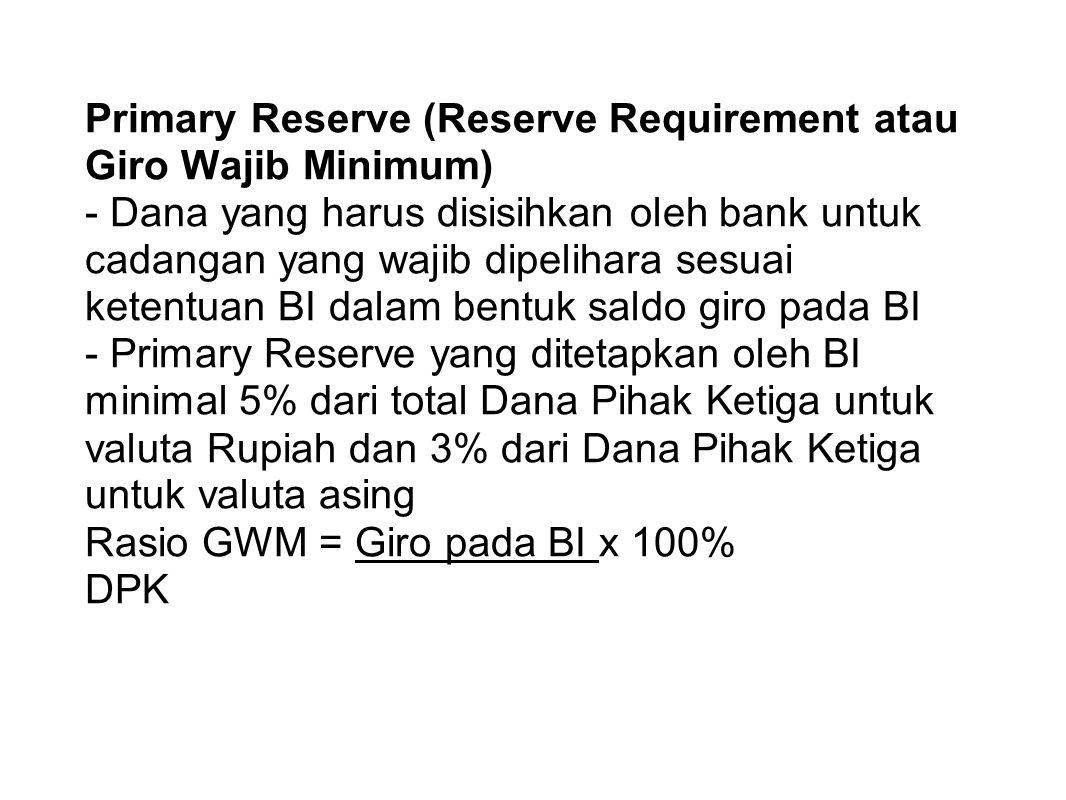 Primary Reserve (Reserve Requirement atau Giro Wajib Minimum) - Dana yang harus disisihkan oleh bank untuk cadangan yang wajib dipelihara sesuai keten