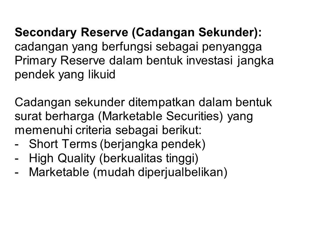 Secondary Reserve (Cadangan Sekunder): cadangan yang berfungsi sebagai penyangga Primary Reserve dalam bentuk investasi jangka pendek yang likuid Cada