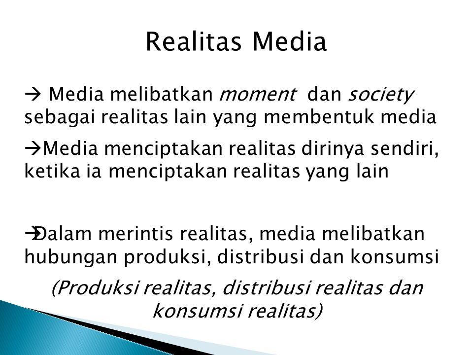 Realitas Media  Media melibatkan moment dan society sebagai realitas lain yang membentuk media  Media menciptakan realitas dirinya sendiri, ketika i