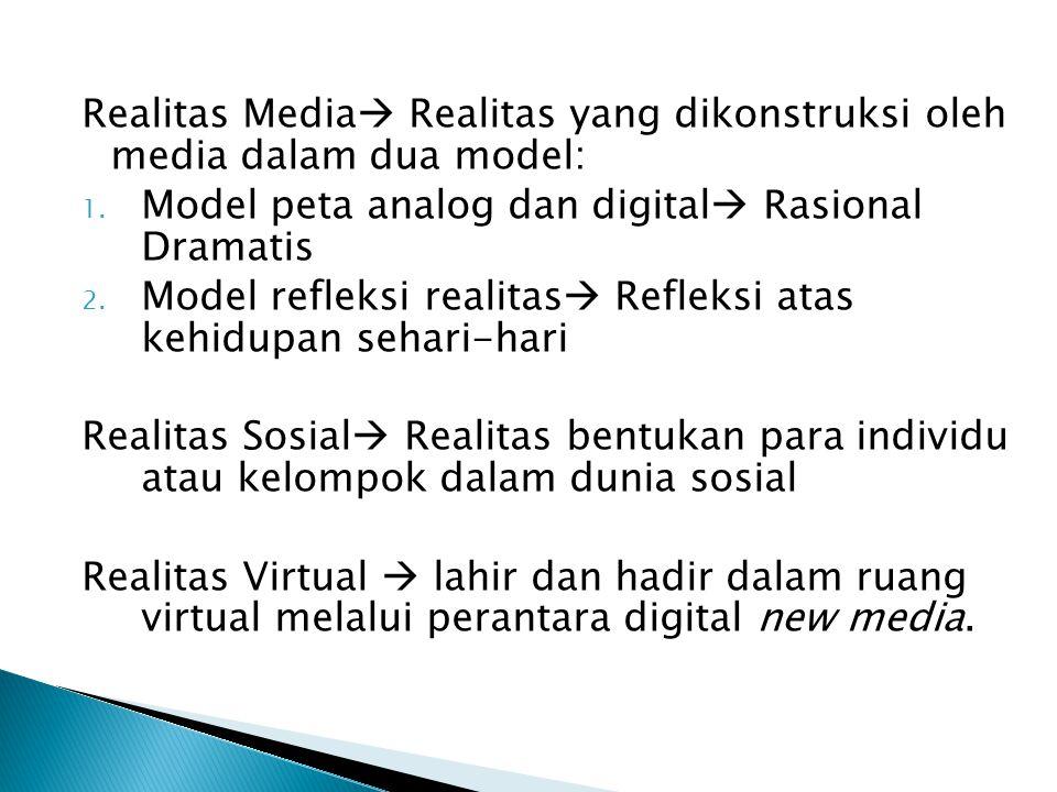 Realitas Media  Realitas yang dikonstruksi oleh media dalam dua model: 1. Model peta analog dan digital  Rasional Dramatis 2. Model refleksi realita