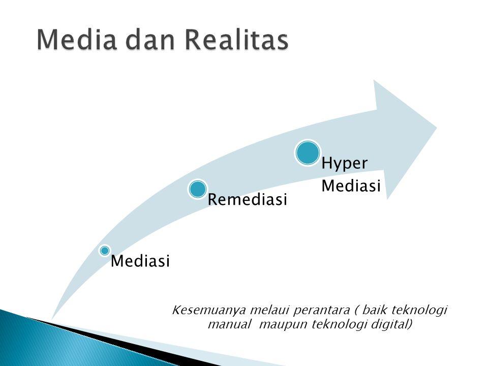 Mediasi Remediasi Hyper Mediasi Kesemuanya melaui perantara ( baik teknologi manual maupun teknologi digital)
