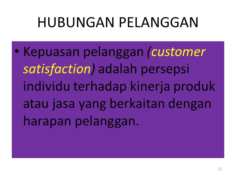 11 HUBUNGAN PELANGGAN Nilai pelanggan (customer value) adalah rasio antara manfaat yang dipersepsikan oleh pelanggan (ekonomi, fungsional dan psikolog