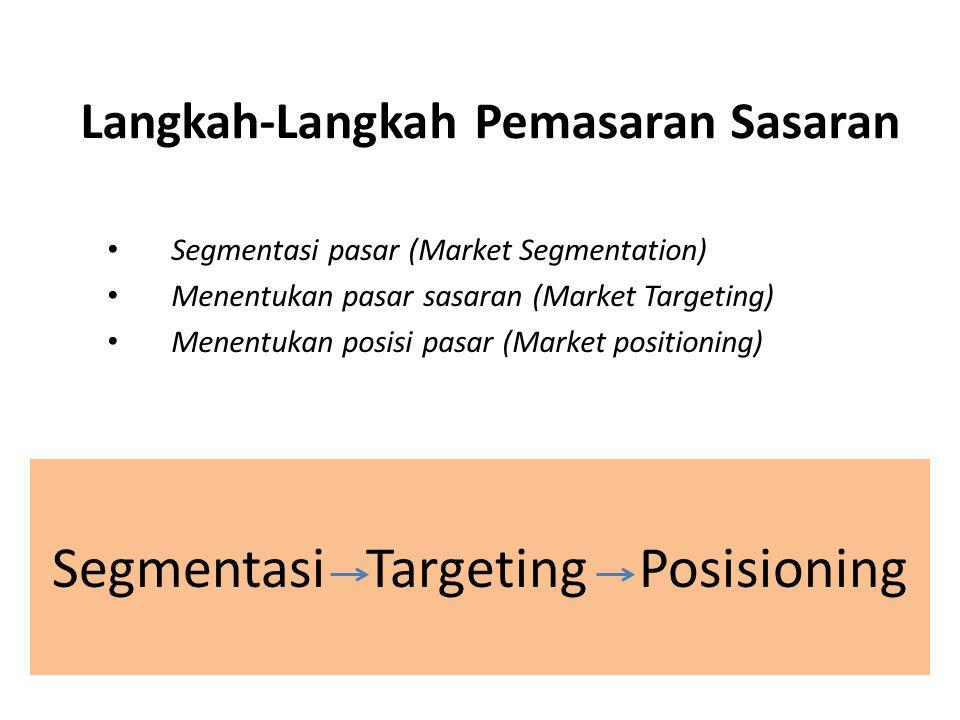 Langkah-Langkah Pemasaran Sasaran Segmentasi pasar (Market Segmentation) Menentukan pasar sasaran (Market Targeting) Menentukan posisi pasar (Market p
