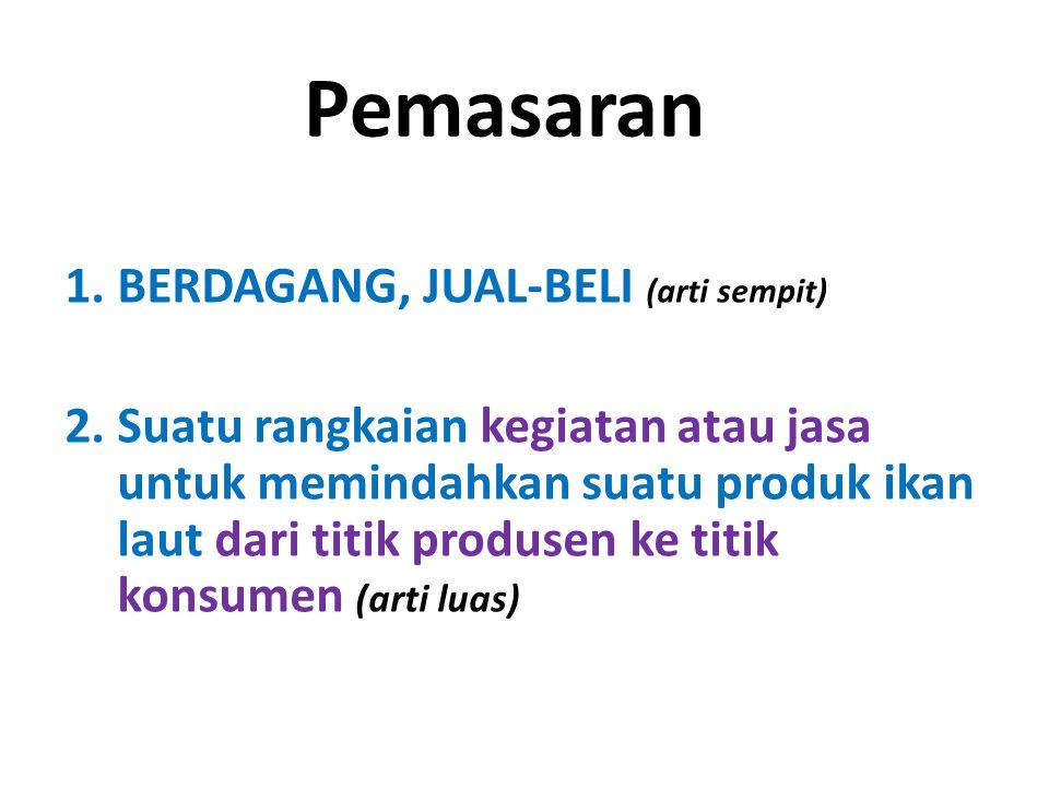 Pemasaran 1.BERDAGANG, JUAL-BELI (arti sempit) 2.