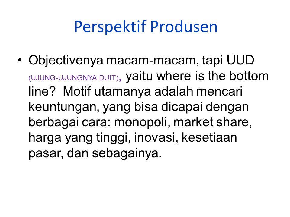 Perspektif Pemasaran Perspektif Produsen Perspektif Konsumen