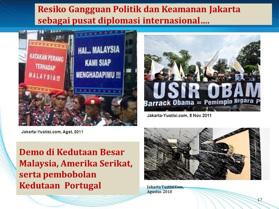 Resiko Gangguan Politik dan Keamanan Jakarta sebagai pusat diplomasi internasional…. 17 Demo di Kedutaan Besar Malaysia, Amerika Serikat, serta pembob