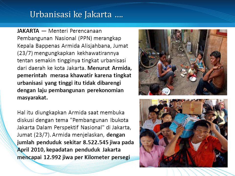 Urbanisasi ke Jakarta …. JAKARTA — Menteri Perencanaan Pembangunan Nasional (PPN) merangkap Kepala Bappenas Armida Alisjahbana, Jumat (23/7) mengungka