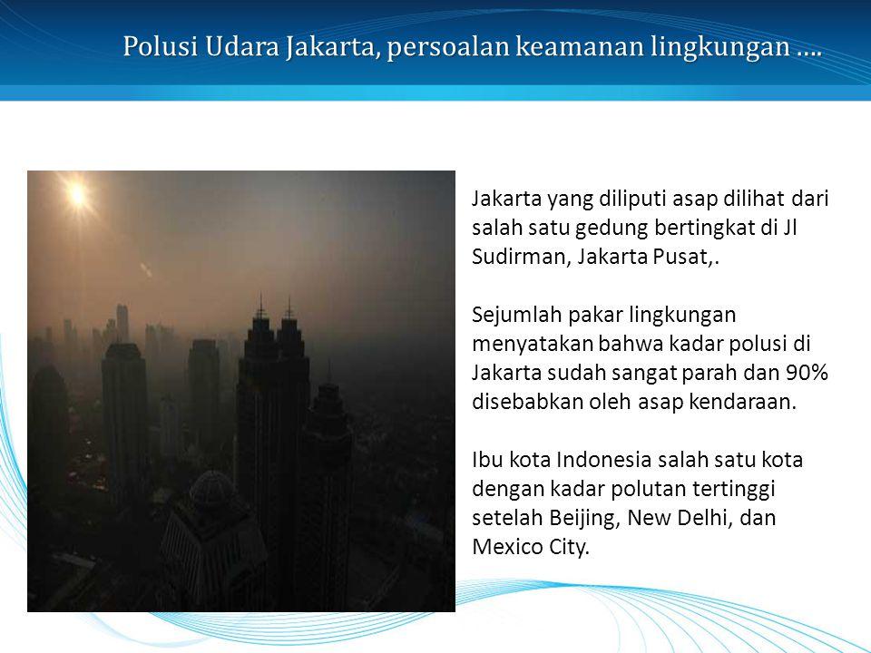 Polusi Udara Jakarta, persoalan keamanan lingkungan …. Jakarta yang diliputi asap dilihat dari salah satu gedung bertingkat di Jl Sudirman, Jakarta Pu