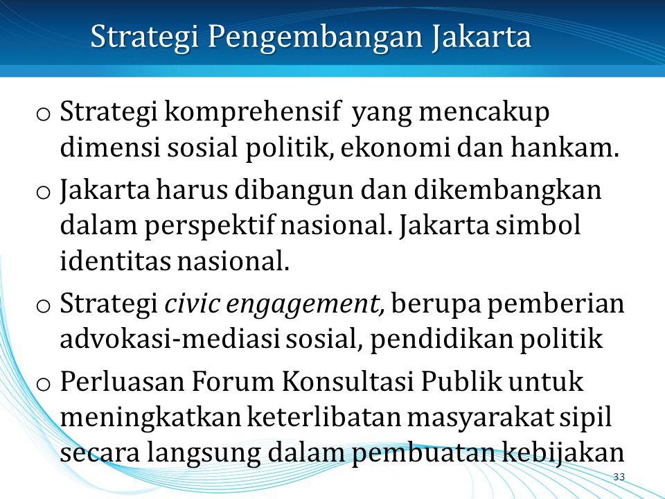 Strategi Pengembangan Jakarta o Strategi komprehensif yang mencakup dimensi sosial politik, ekonomi dan hankam. o Jakarta harus dibangun dan dikembang