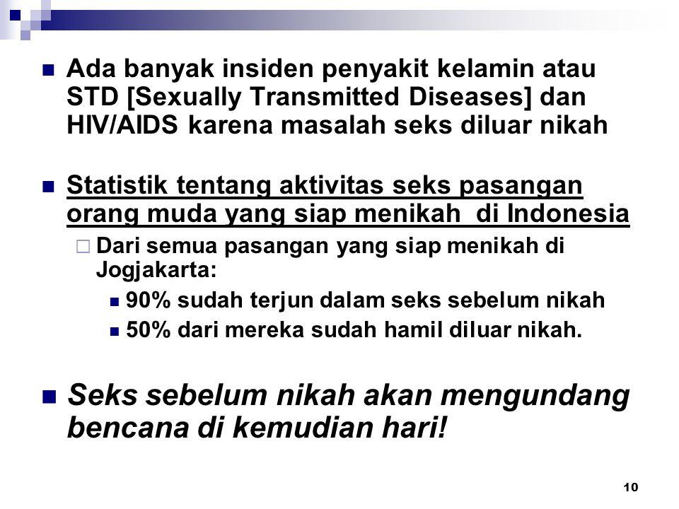 10 Ada banyak insiden penyakit kelamin atau STD [Sexually Transmitted Diseases] dan HIV/AIDS karena masalah seks diluar nikah Statistik tentang aktivi