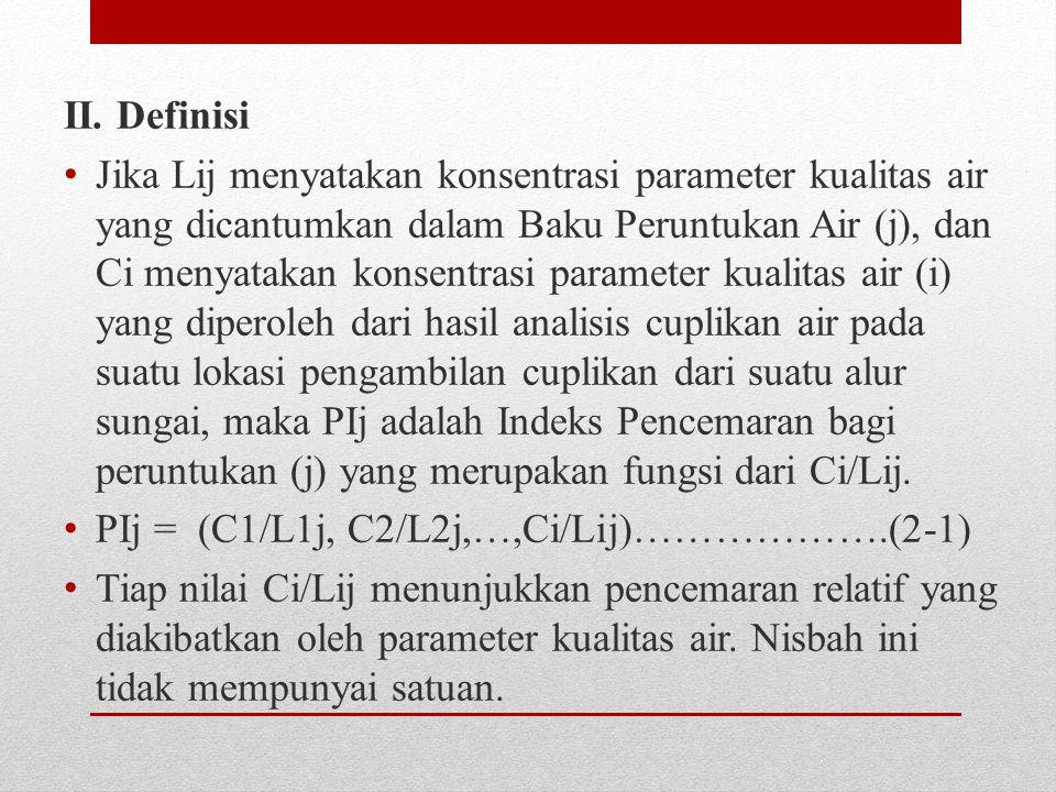 II. Definisi Jika Lij menyatakan konsentrasi parameter kualitas air yang dicantumkan dalam Baku Peruntukan Air (j), dan Ci menyatakan konsentrasi para