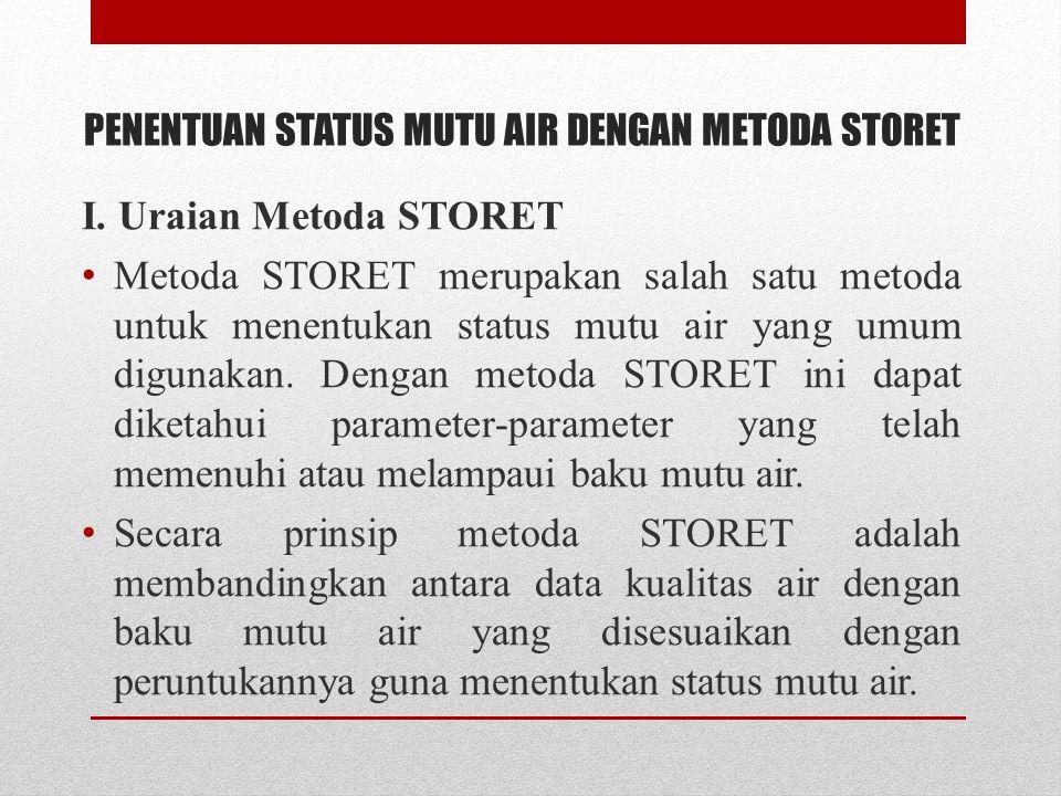 PENENTUAN STATUS MUTU AIR DENGAN METODA STORET I.