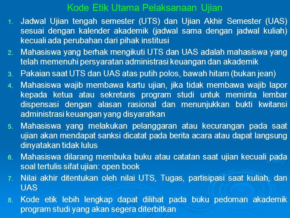 Kode Etik Utama Pelaksanaan Ujian 1. 1. Jadwal Ujian tengah semester (UTS) dan Ujian Akhir Semester (UAS) sesuai dengan kalender akademik (jadwal sama