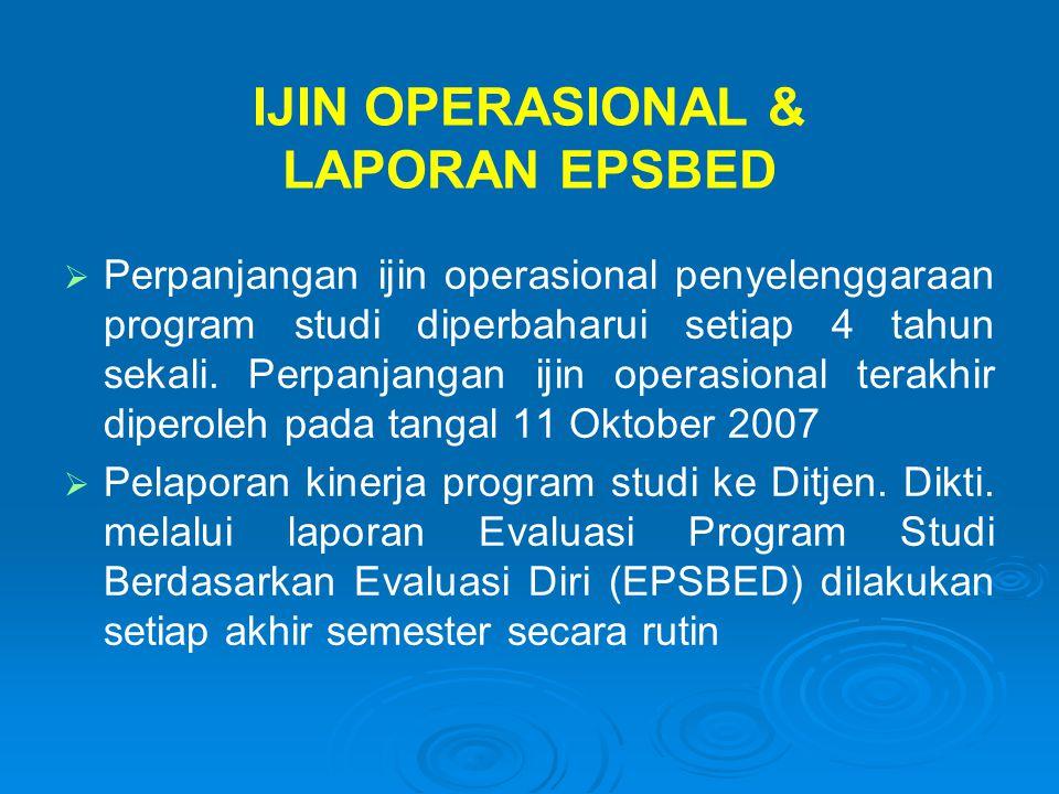 IJIN OPERASIONAL & LAPORAN EPSBED   Perpanjangan ijin operasional penyelenggaraan program studi diperbaharui setiap 4 tahun sekali. Perpanjangan iji