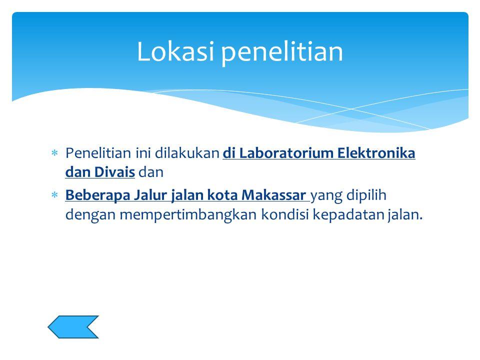  Penelitian ini dilakukan di Laboratorium Elektronika dan Divais dan  Beberapa Jalur jalan kota Makassar yang dipilih dengan mempertimbangkan kondis
