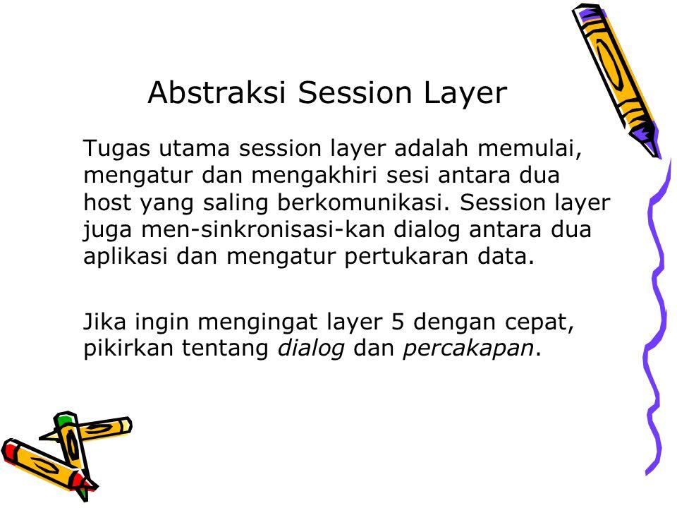 Abstraksi Session Layer Tugas utama session layer adalah memulai, mengatur dan mengakhiri sesi antara dua host yang saling berkomunikasi. Session laye
