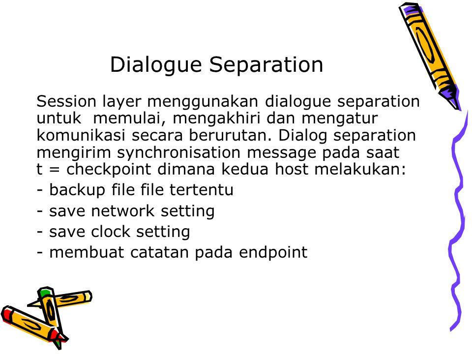 Dialogue Separation Session layer menggunakan dialogue separation untuk memulai, mengakhiri dan mengatur komunikasi secara berurutan. Dialog separatio