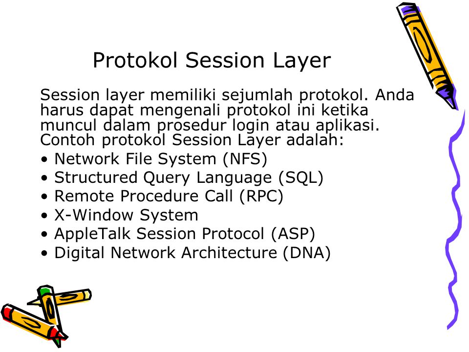 Protokol Session Layer Session layer memiliki sejumlah protokol.