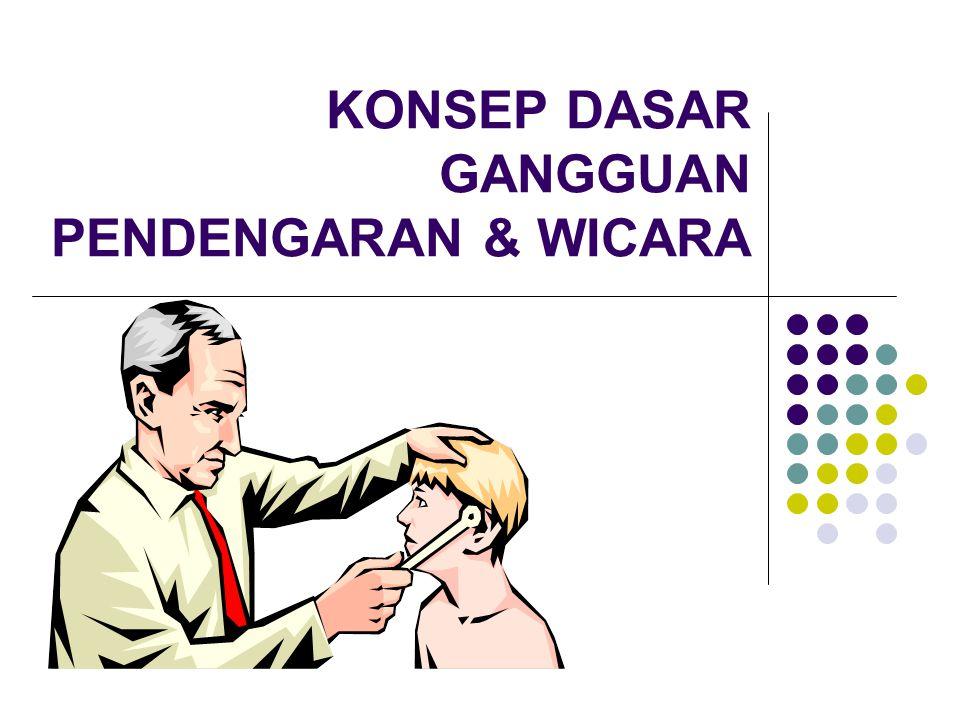 3.Hard of Hearing (55~70 dB) Masih mampu mendengar pembicaraan dg suara keras Terjadi perbendaharaan kata yg terbatas Abnormalitas dlm artikulasi 4.Gang Pendengaran Berat (70~90 dB) Masih mendengar suara yg angat keras pd jarak 1 kaki dari telinga Dpt mengidentifikasi lingkungan yg gaduh Masih mampu membedakan vocal Kesulitan membedakan konsonan