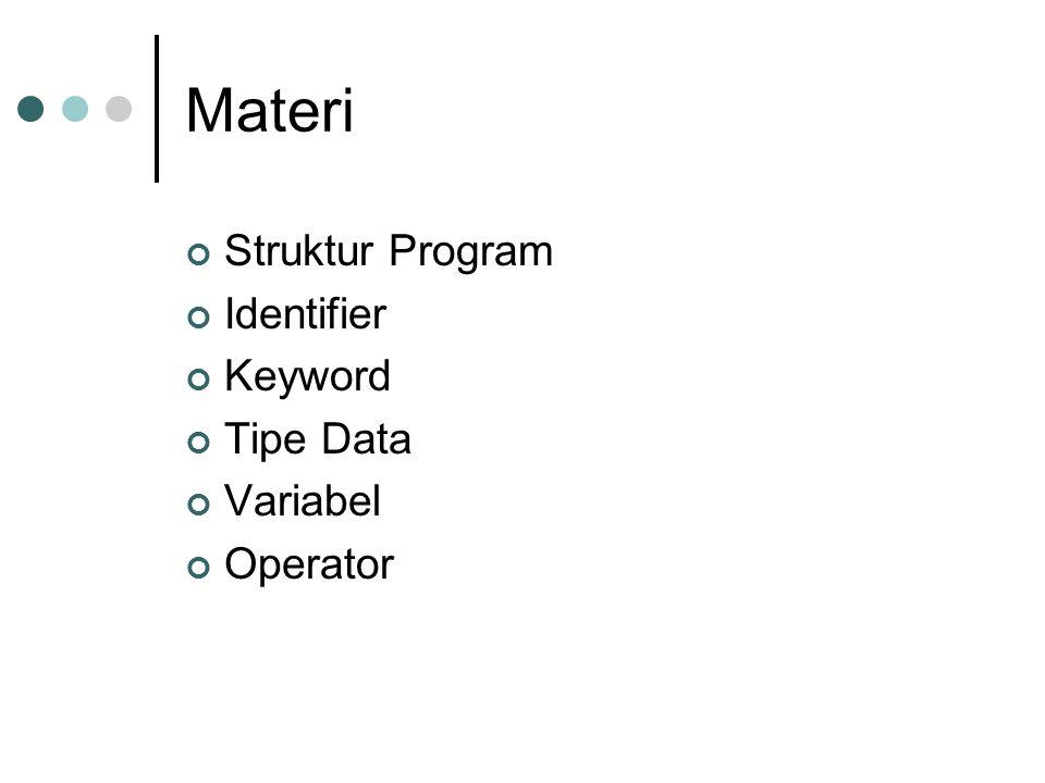 Struktur Program public class Hello { /** * My first java program */ public static void main(String[] args) { //menampilkan string Hello world pada layar System.out.println( Hello world! ); } 123456789123456789 2 33 1 4 5 6 1Deklarasi class 2Pembuka blok 3Komentar 4Main method 5Statement / perintah 6Penutup blok