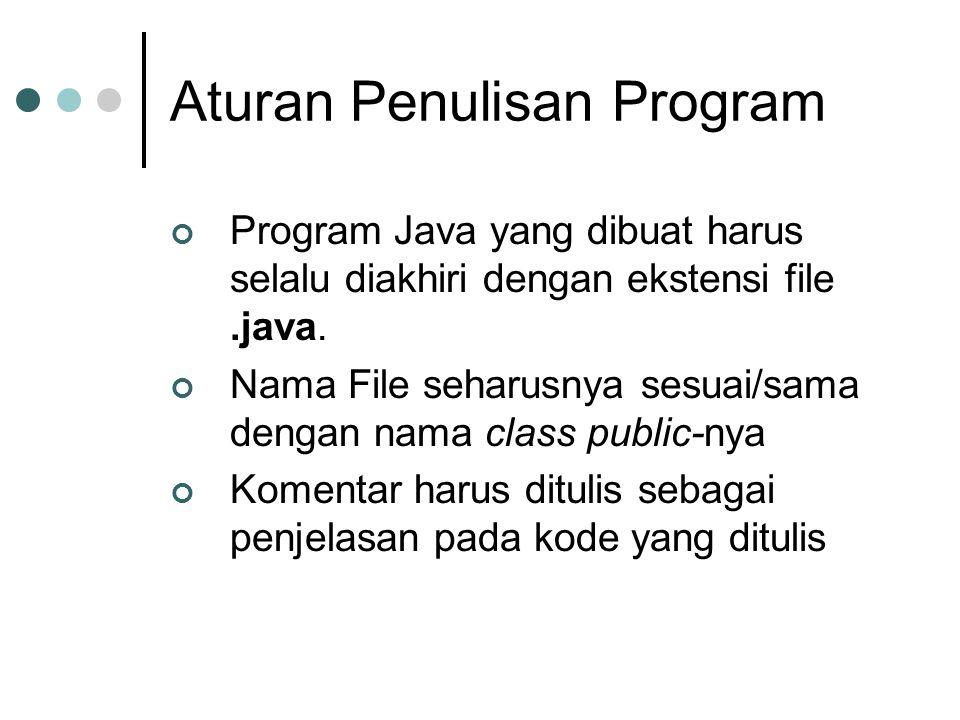 Aturan Penulisan Program Program Java yang dibuat harus selalu diakhiri dengan ekstensi file.java. Nama File seharusnya sesuai/sama dengan nama class