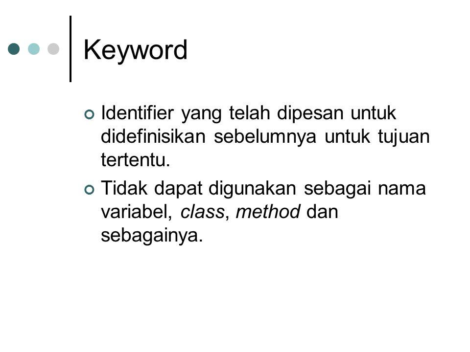 Keyword Identifier yang telah dipesan untuk didefinisikan sebelumnya untuk tujuan tertentu. Tidak dapat digunakan sebagai nama variabel, class, method