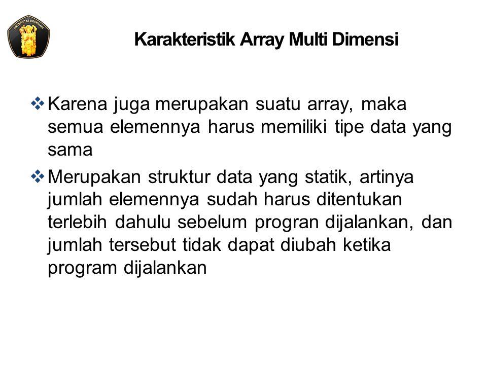 Karakteristik Array Multi Dimensi  Karena juga merupakan suatu array, maka semua elemennya harus memiliki tipe data yang sama  Merupakan struktur data yang statik, artinya jumlah elemennya sudah harus ditentukan terlebih dahulu sebelum progran dijalankan, dan jumlah tersebut tidak dapat diubah ketika program dijalankan