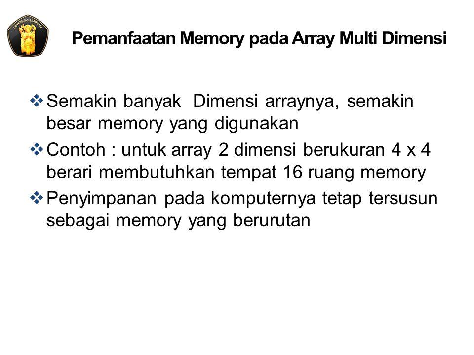 Pemanfaatan Memory pada Array Multi Dimensi  Semakin banyak Dimensi arraynya, semakin besar memory yang digunakan  Contoh : untuk array 2 dimensi berukuran 4 x 4 berari membutuhkan tempat 16 ruang memory  Penyimpanan pada komputernya tetap tersusun sebagai memory yang berurutan