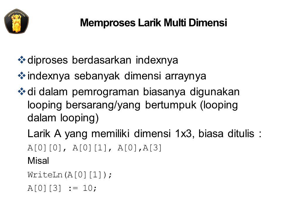 Memproses Larik Multi Dimensi  diproses berdasarkan indexnya  indexnya sebanyak dimensi arraynya  di dalam pemrograman biasanya digunakan looping bersarang/yang bertumpuk (looping dalam looping) Larik A yang memiliki dimensi 1x3, biasa ditulis : A[0][0], A[0][1], A[0],A[3] Misal WriteLn(A[0][1]); A[0][3] := 10;