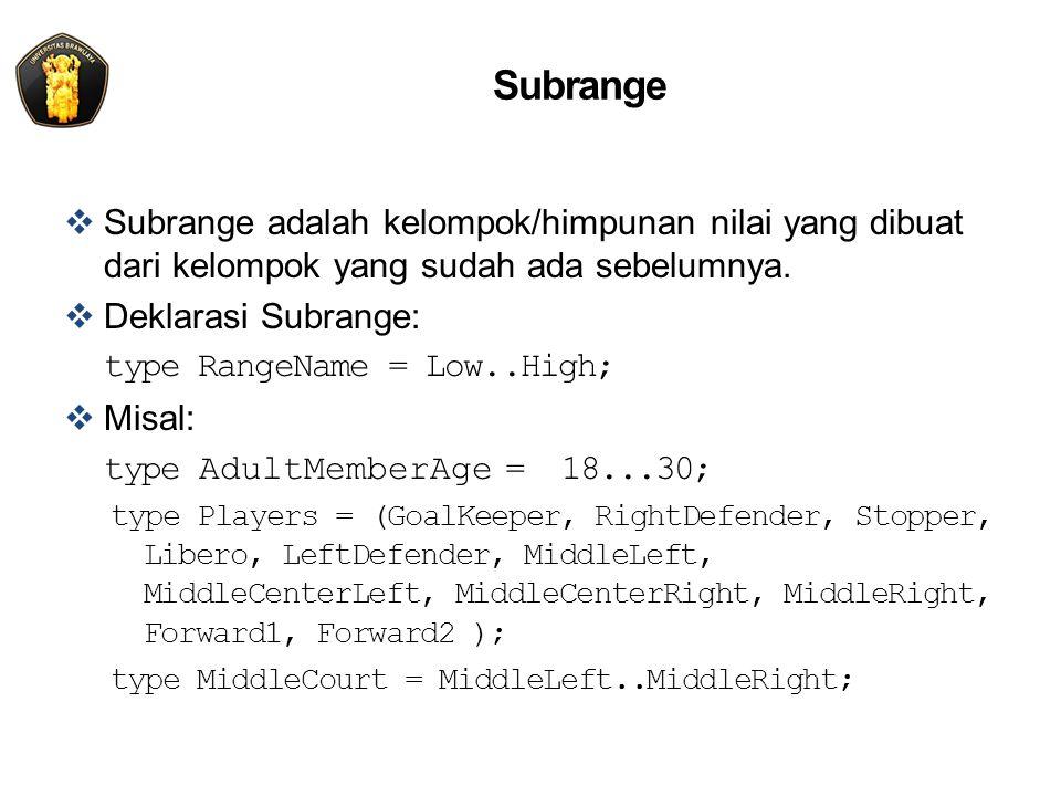 Subrange  Subrange adalah kelompok/himpunan nilai yang dibuat dari kelompok yang sudah ada sebelumnya.  Deklarasi Subrange: type RangeName = Low..Hi