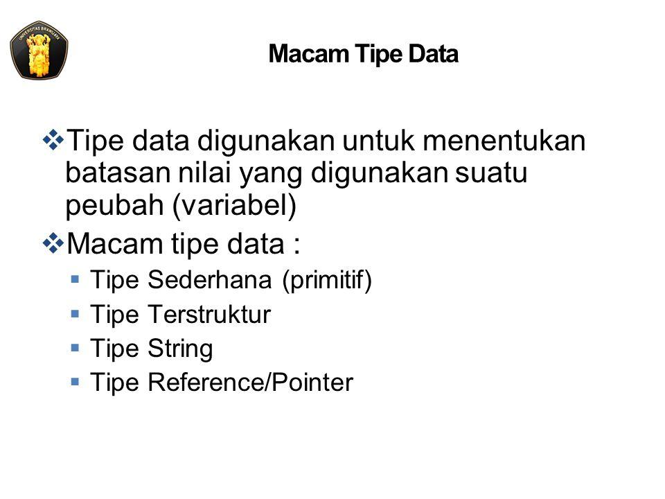 Tipe Data Sederhana  Disebut juga tipe data skalar, yaitu suatu tipe data yang memungkinkan sebuah peubah untuk menyimpan sebuah nilai  Macam tipe sederhana :  Tipe ordinal/integral ShortInt, Integer, LongInt, Byte, Word subrange, dan enumerated  Tipe floating point/real Real, Single, Double, Extended  Tipe char Char  Tipe boolean Boolean