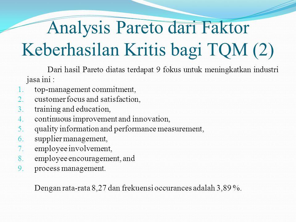 Analysis Pareto dari Faktor Keberhasilan Kritis bagi TQM (2) Dari hasil Pareto diatas terdapat 9 fokus untuk meningkatkan industri jasa ini : 1.