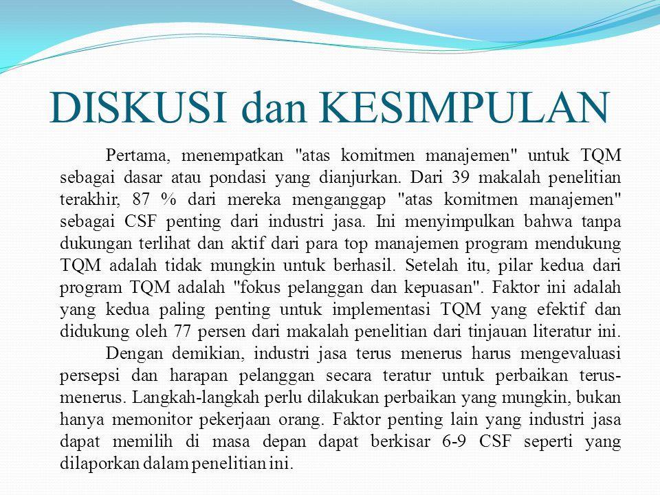DISKUSI dan KESIMPULAN Pertama, menempatkan atas komitmen manajemen untuk TQM sebagai dasar atau pondasi yang dianjurkan.