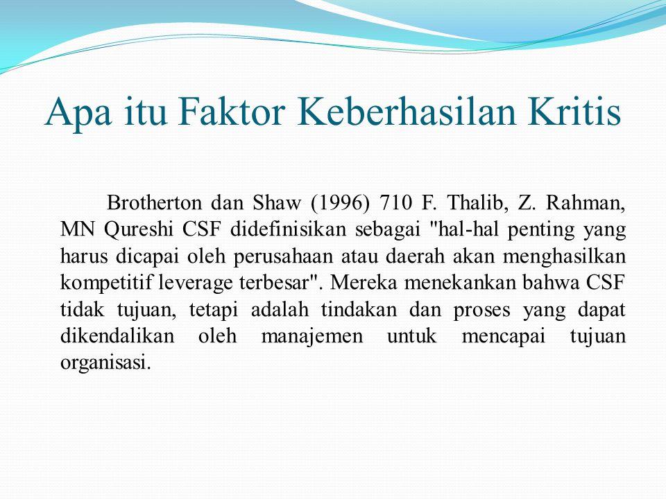 Apa itu Faktor Keberhasilan Kritis Brotherton dan Shaw (1996) 710 F.