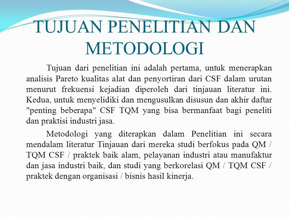 TUJUAN PENELITIAN DAN METODOLOGI Tujuan dari penelitian ini adalah pertama, untuk menerapkan analisis Pareto kualitas alat dan penyortiran dari CSF dalam urutan menurut frekuensi kejadian diperoleh dari tinjauan literatur ini.