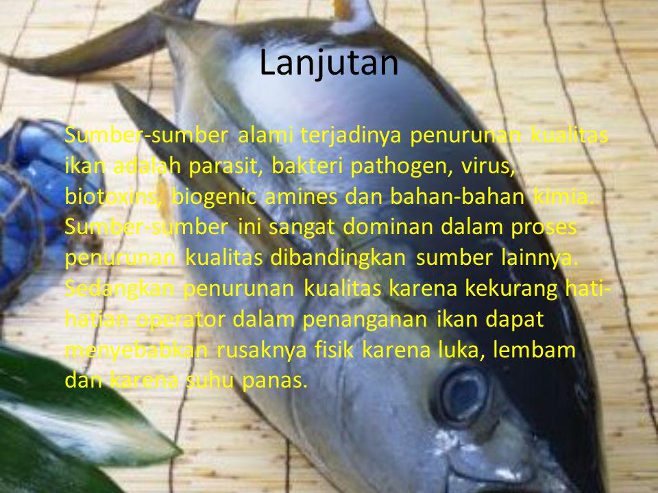 Lanjutan Sumber-sumber alami terjadinya penurunan kualitas ikan adalah parasit, bakteri pathogen, virus, biotoxins, biogenic amines dan bahan-bahan kimia.