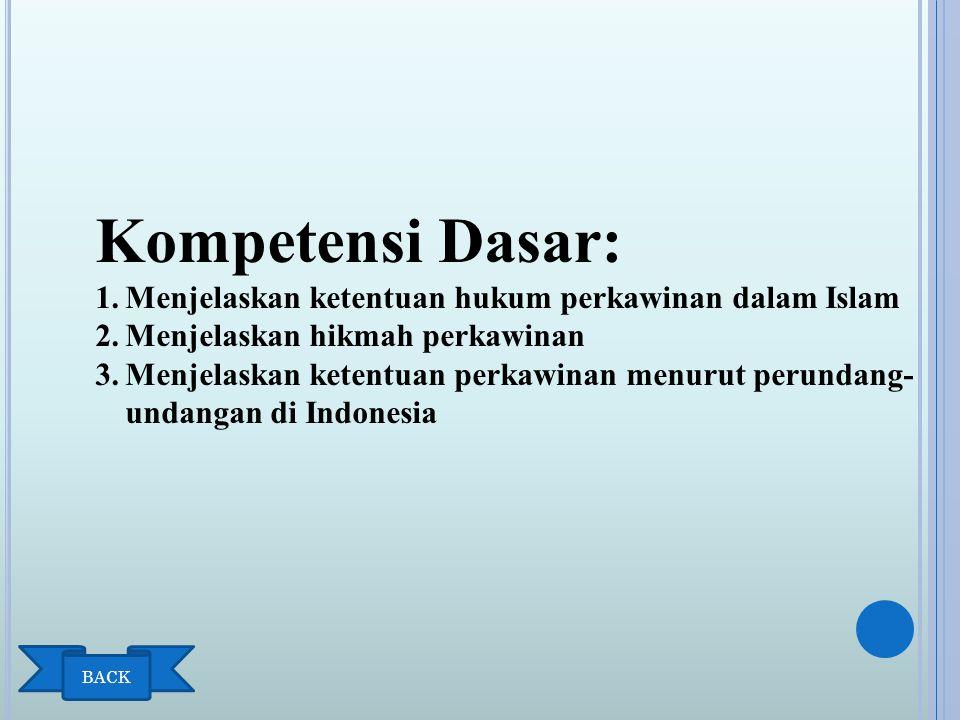 INDIKATOR Menjelaskan hukum Islam tentang talak Menjelaskan hukum Islam tentang ruju Menjelaskan hikmah nikah Menjelaskan hikmah talak Menjelaskan hikmah ruju ' Menjelaskan ketentuan perka-winan menurut perundang- undangan tentang perkawinan di Indonesia.
