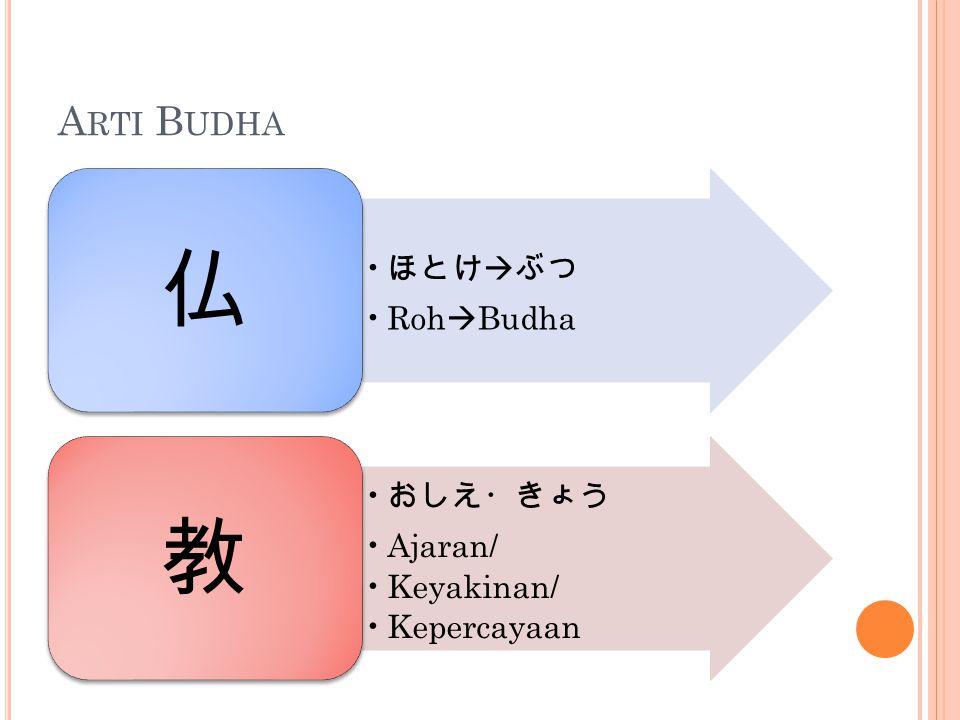 A RTI B UDHA ほとけ  ぶつ Roh  Budha 仏 おしえ・きょう Ajaran/ Keyakinan/ Kepercayaan 教