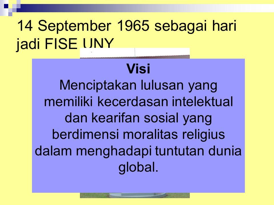 14 September 1965 sebagai hari jadi FISE UNY Visi Menciptakan lulusan yang memiliki kecerdasan intelektual dan kearifan sosial yang berdimensi moralitas religius dalam menghadapi tuntutan dunia global.