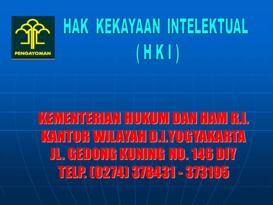 Data pendaftaran HKI melalui Kanwil DIY TAHUNHAK CIPTA MEREKDIPATENDTLSTTOTAL 20111122048--324 2012682018--277 32